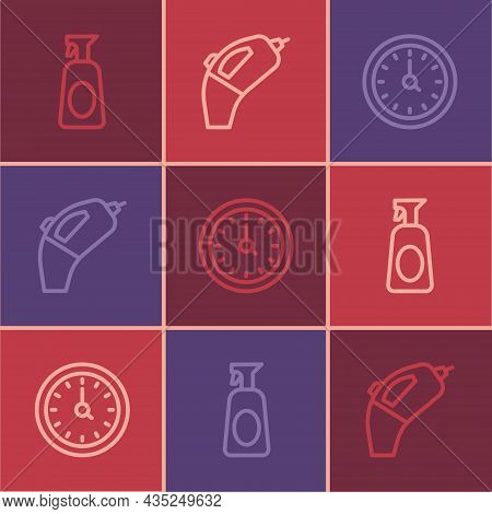Set Line Cleaning Spray With Detergent, Clock And Portable Vacuum Cleaner Icon. Vector