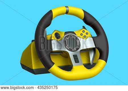 Realistic Leather Steering Wheel Isolated On A Blue Background.