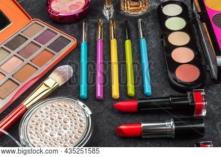 Make Up Tools. Concept Of Green Eco Cosmetics And Makeup