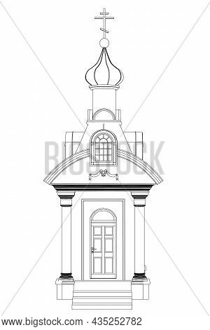 Chapel Contour From Black Lines Isolated On White Background. Front View. Vector Illustration