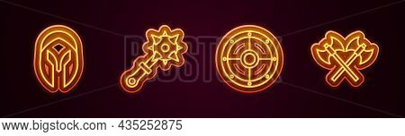 Set Line Medieval Helmet, Mace With Spikes, Round Shield And Crossed Medieval Axes. Glowing Neon Ico
