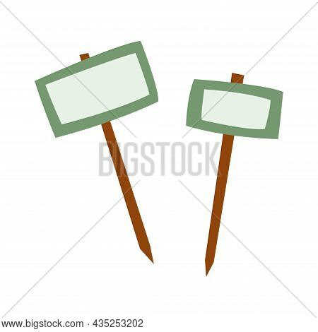 Garden Plaques. Wooden Banner Signpost. Isolated Vector Illustration On White Background.