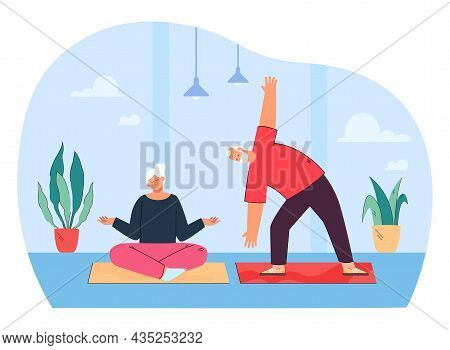 Active Sporty Elderly Couple Doing Sports Practicing Yoga Exercise Together At Home. Flat Vector Ill
