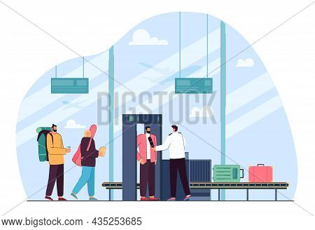Flat Vector Illustration Of People Checking At Airport Metal Detector Gate. Guardian Security Scanni