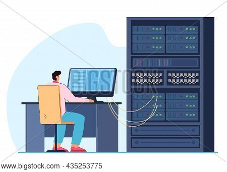 Man Engineer Working On Computer Server Rack Switchboard. Guy Switching Panel Cabinet With Plugged E