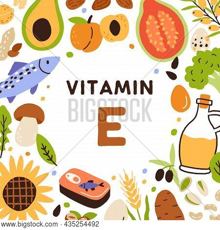 Organic Sources Of Vitamin E. Card With Natural Healthy Food And Nutrients Enriched With Tocopherol.