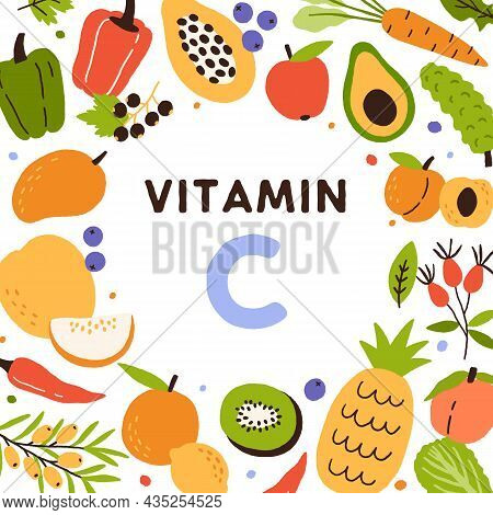 Food Sources Of Vitamin C. Frame Of Natural Antioxidants, Citrus Fruits And Vegetables Enriched With