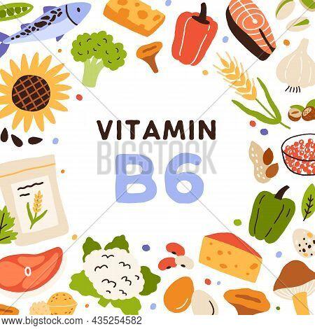 Vitamin B6 Card. Frame Of Organic Natural Food Sources Of Vitamine B 6. Healthy Nutrients Circle. Nu
