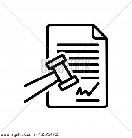 Black Line Icon For Sue File-a-claim Prosecute Plead Indict Justice Hammer