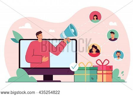 Business Person Using Social Media Referral Strategy Online. Getting New Product Consumers Through I