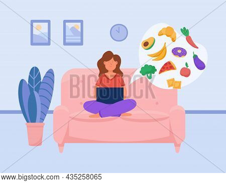 Girl Ordering Food Via Mobile App. Woman Using Laptop At Home, Buying Fruits, Vegetables And Dessert