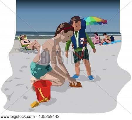 Children Playing On The Sand And Sunbathing People On The Beach - Colored Illustration With Summer T