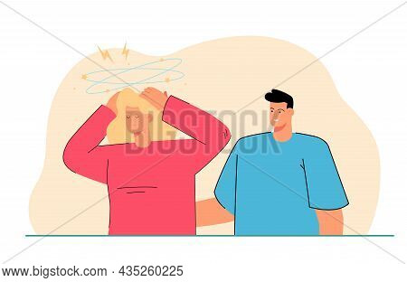 Unhappy Young Woman Stressed By Man Talking. Mad Furious Angry Female Distressed Annoyed Communicati