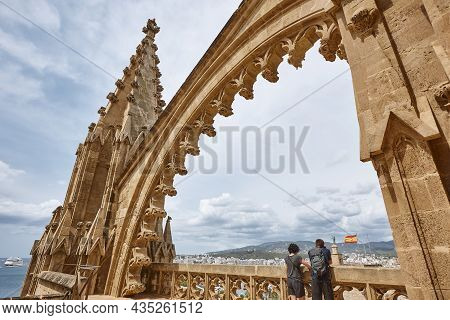 Palma De Mallorca Cathedral Rooftop. Arches And Pinnacles. Spain