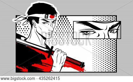 Warrior, A Samurai Holds A Katana On His Shoulder. Martial Art. Manga Style Illustration.