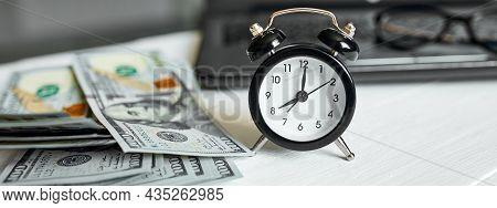 Banner Modern Workplace Of Laptop, Clock, Money, Dollars Banknote