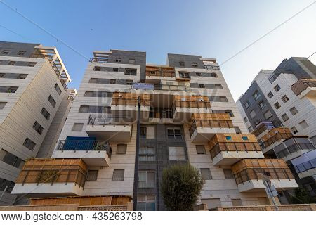 Ahisamakh - Israel. 20-09-2021. Many Sukkot On The Balconies Of A Residential Building In A Religiou