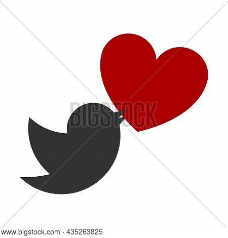 Icon Of A Gray Bird In Flight With A Red Heart In Its Beak. The Symbol Of Love, Peace And Like. Vect