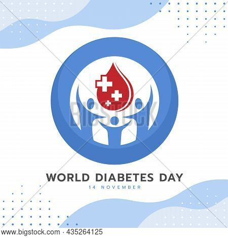 World Diabetes Day Banner People Hold Red Drop Blood With Plus Cross In Universal Blue Circle Symbol