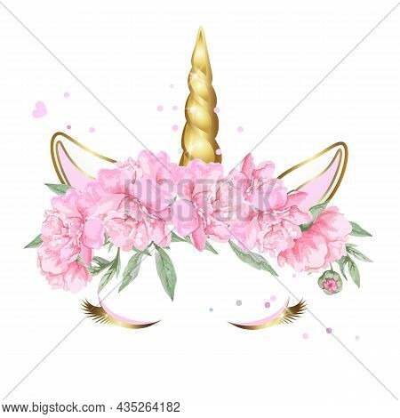 Face Of A Unicorn With Closed Eyes In A Wreath Of Pink Flowers With Sparkles. The Golden Horn Of The