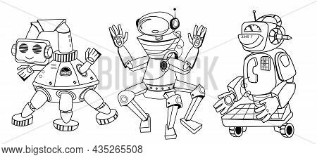 Coloring Book Page With Outline Cute Robot Cartoon Characters For Children, Vector Illustration Isol