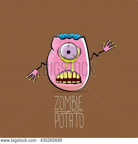 Vector Funny Cartoon Cute Pink Zombie Potato Character Isolated On Brown Background. My Name Is Zomb