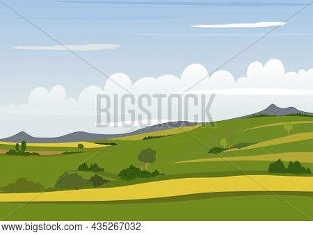 Spring Mountain Landscape - Colored Illustration With Green Hills And Yellow Fields With Mountains O