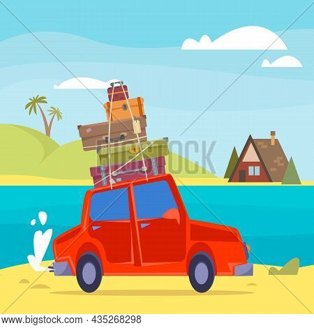 Red Cartoon Car With Suitcases On The Roof Goes On Vacation. Background Of The Sea And A Small Bunga
