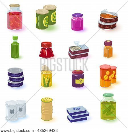 Cartoon Collection Of Home Manufacturing Of Food Preservation. Vector Organic Jams, Fish, Meat, Vegg