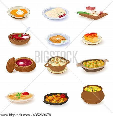 Collection Of Ukrainian Dishes, Homemade Food, Tasty And Fresh Served In Plates And Pot. Vector Meal