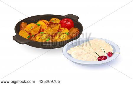 Frying Pan With Potatoes, Pierogi With Cherry. Vector Pan Wok, Ukrainian Dish, Fat And Oily Dinner,