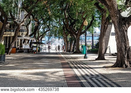 Funchal, Portugal - August 29, 2021: This Is Zarco Bouleward, Which Overlooks The City Embankment To