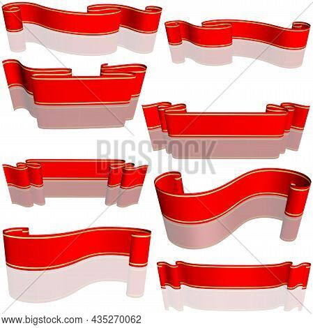 Red Banner With Gold Lines Set And Reflection - Colored Detailed Illustration, Vector