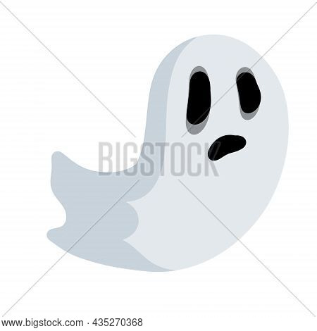 Ghost. Funny Flying Spirit. The Halloween Element. White Cute Character. Icon Of Death. Flat Cartoon