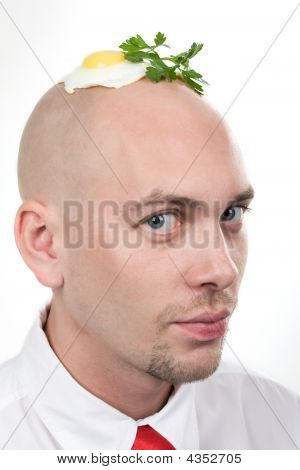 Portrait of strange man with fried egg on top of bald head poster