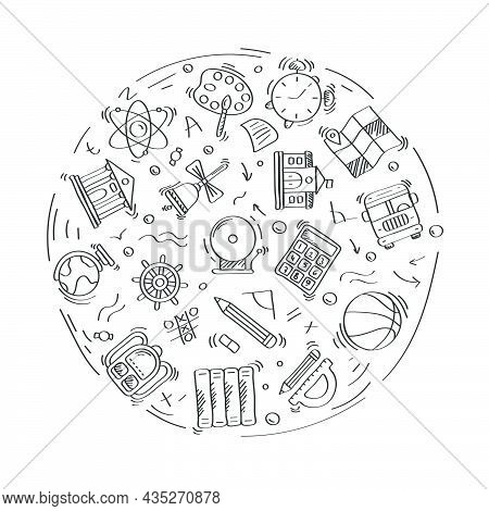 Set Of Doodle Linear Icons Of Education And School. Geography,globe,calculator,university,chemistry,