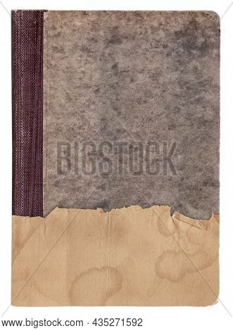 Vintage Old Book With Piece Of Paper Cover Isolated On White