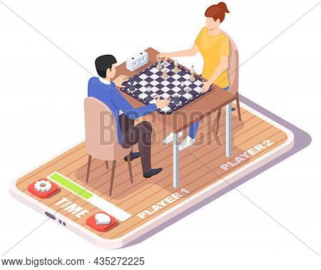 Man And Woman Playing Chess Board Game On Smartphone Screen, Vector Isometric Illustration. Online C