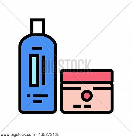 Perm And Hair Straightener Packages Color Icon Vector. Perm And Hair Straightener Packages Sign. Iso