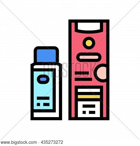 Clarifier And Oxide Packages For Hair Coloring Color Icon Vector. Clarifier And Oxide Packages For H