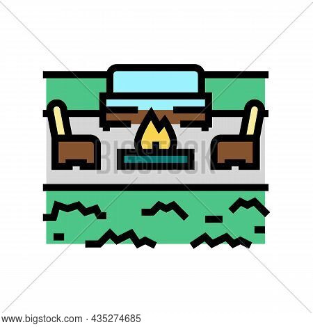 Outdoor Living Furniture And Fireplace Color Icon Vector. Outdoor Living Furniture And Fireplace Sig