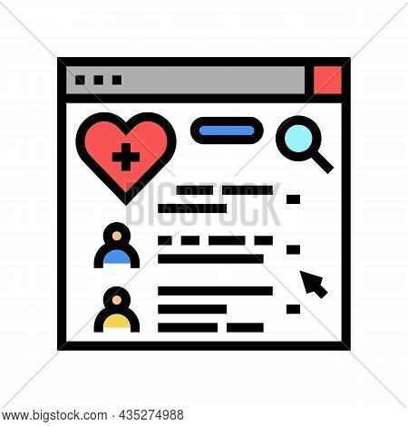 Doctor Search Online Web Site Color Icon Vector. Doctor Search Online Web Site Sign. Isolated Symbol