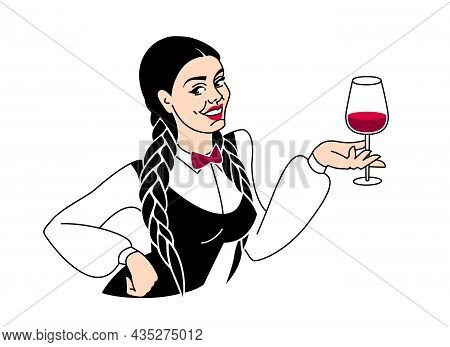 Woman Sommelier, Tasting And Evaluating Wine. Girl Holding Glass Of Wine. Taste Appreciation, Aroma,