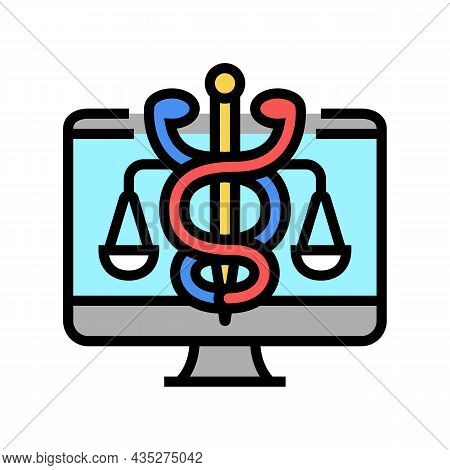 Telehealth Law Color Icon Vector. Telehealth Law Sign. Isolated Symbol Illustration