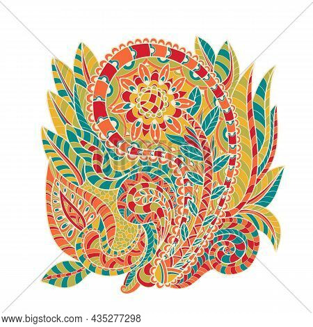 Decorative Element In Doodle Style, Isolated On White Background. Multicolor Paisley Print . Vector