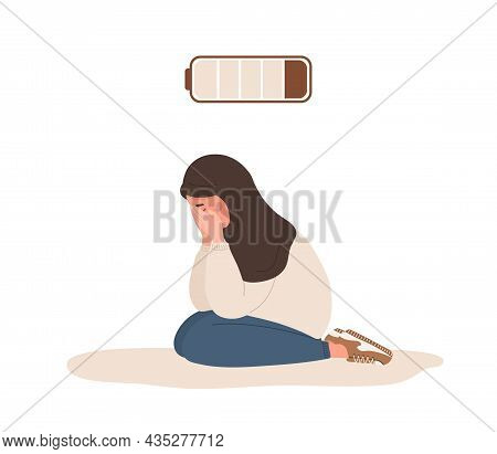 Emotional Burnout. Sad Arab Teenager With Low Battery Sitting On Floor And Crying. Mental Health Pro