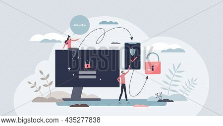 Two Factor Authentication Or Multi Step Verification Tiny Person Concept. Request Identity Approval
