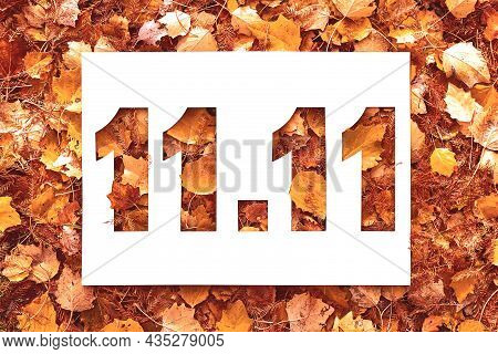 11.11 Text Cut Out On White Paper Card Lying On Background Of Autumn Fall Leaves