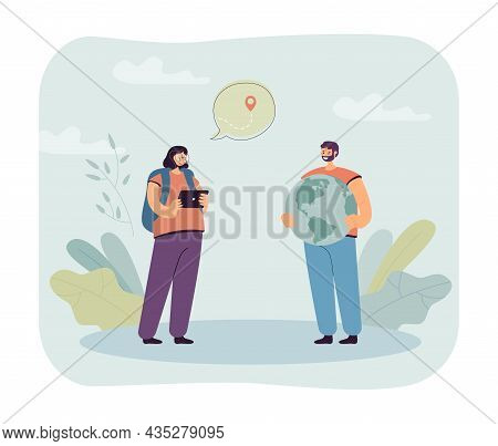 Tourists Using Navigation App In Tablet Or Navigator With Map. Woman And Man Exploring Globe Flat Ve
