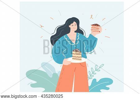 Woman Eating Chocolate Cake. Happy Female Character Holding Two Plates Of Cake Pieces, Hungry Lady E